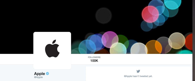 Apple's Twitter-account: 0 tweets, 100K+ volgers