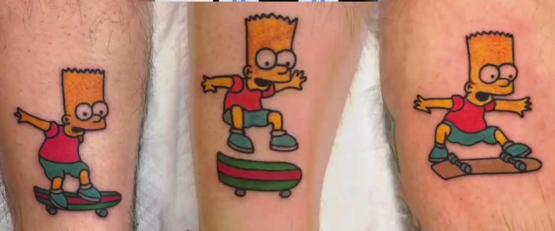 Waanzin: tattoo-artiest maakt Bart Simpson-animatie in 19 tattoos