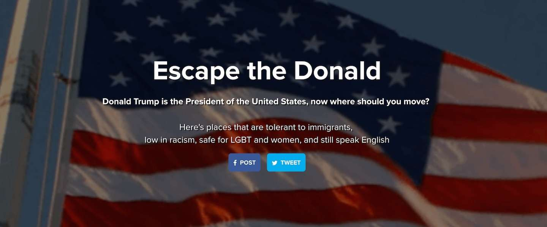Escape the Donald: zoekmachine voor wie weg wil uit de USA