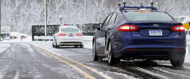 Hoe reageert een autonoom voertuig bij sneeuwval?