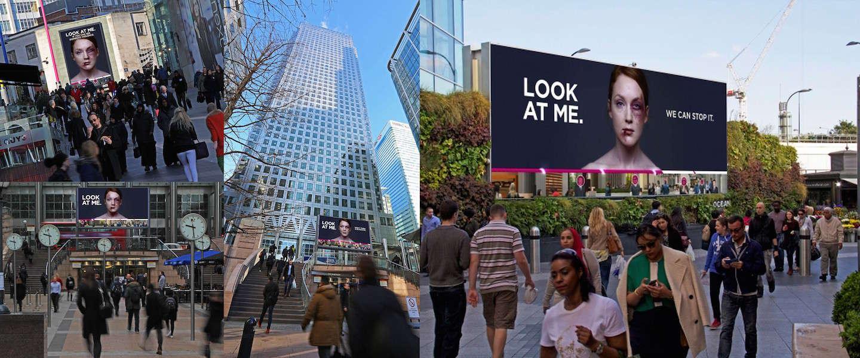 Bijzondere billboard van mishandelde vrouwen