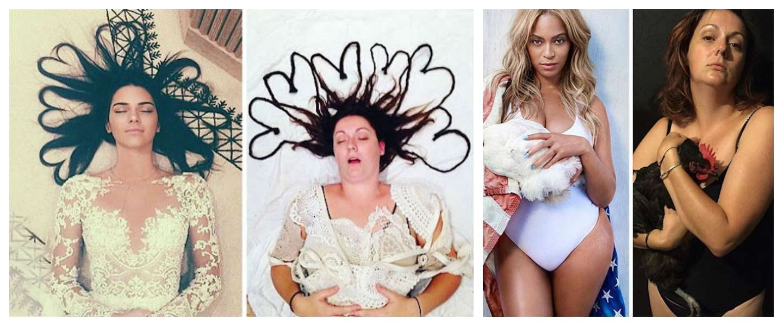 Vrouw imiteert selfies van de sterren op een hilarische manier!