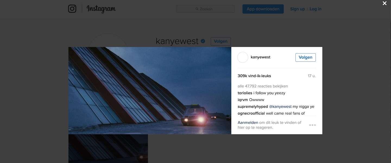 Kanye West heeft nu ook Instagram (en in no time 825K volgers)