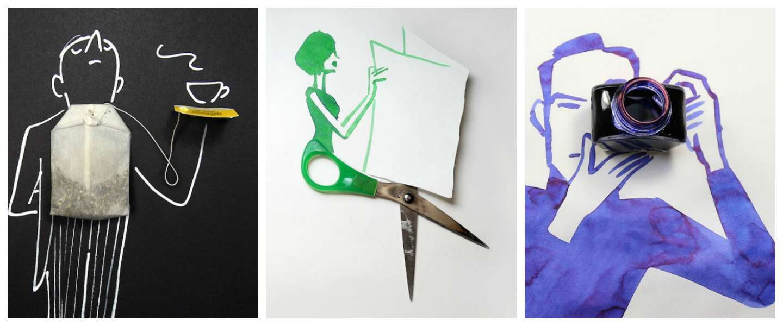 Kunstenaar maakt gave tekeningen met alledaagse voorwerpen