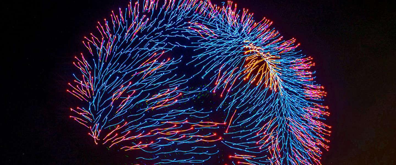 Lichtshow met drones levert een wereldrecord op