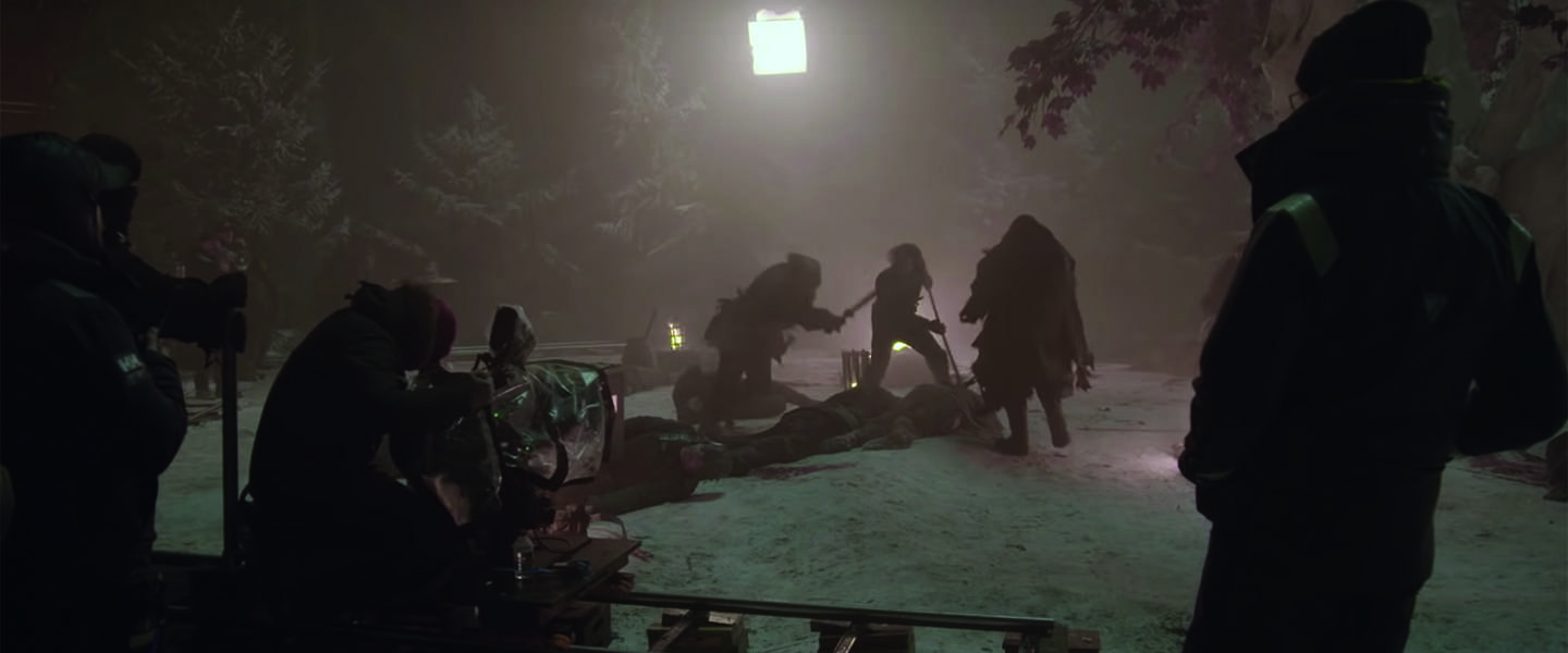 Behind the scenes bij het filmen van Game of Thrones - The Long Night