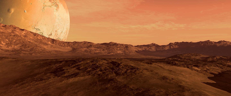 Er vliegt een helikopter op Mars