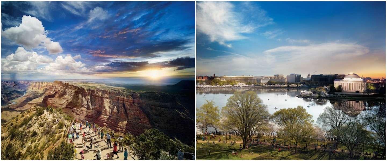 Deze prachtige foto's laten natuurparken van de VS op verschillende tijdstippen zien