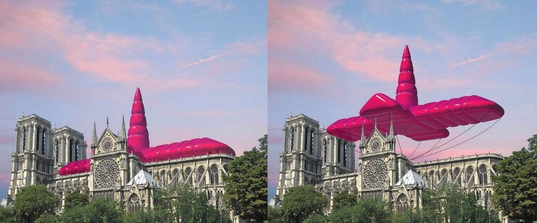 Designstudio verandert Notre Dame in gigantische unicorn