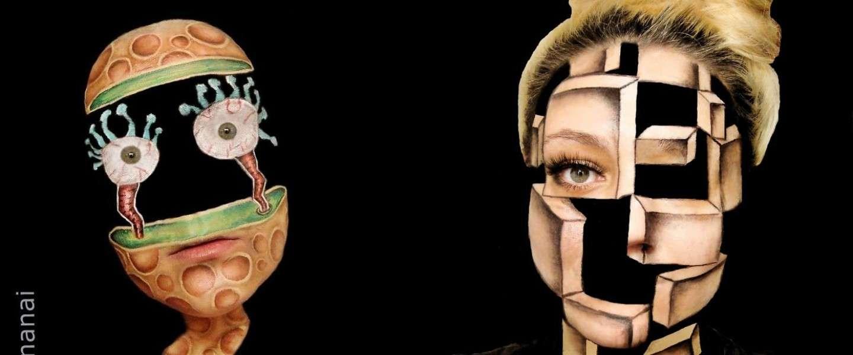 Bizar: vrouw tekent optische illusies op eigen gezicht
