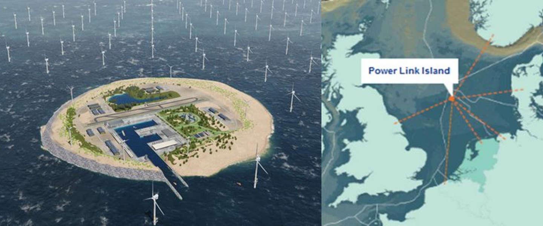 Nieuw eiland wordt gebouwd in de Noordzee voor mega-windmolenpark