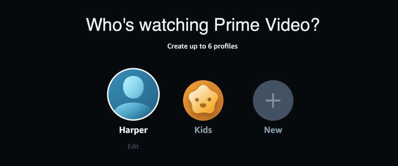 Amazon Prime Video maakt het mogelijk profielen te maken