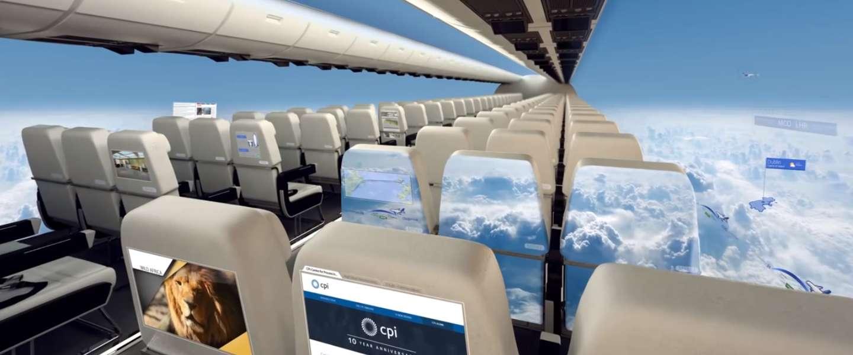 Raamloze vliegtuigen geven reiziger panorama view over de stad