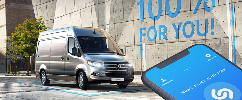 Shazammen om een proefrit te maken met de nieuwe Mercedes-Benz Sprinter