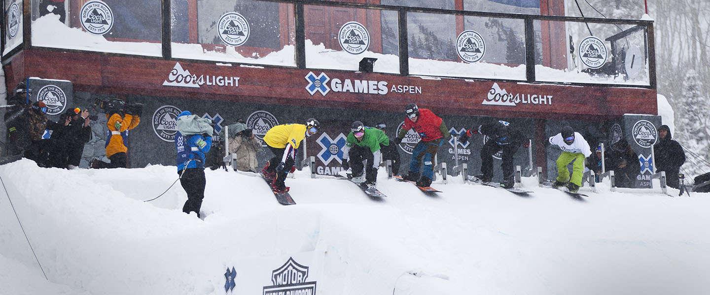 Snowboarder Vos in actie op X Games Aspen USA