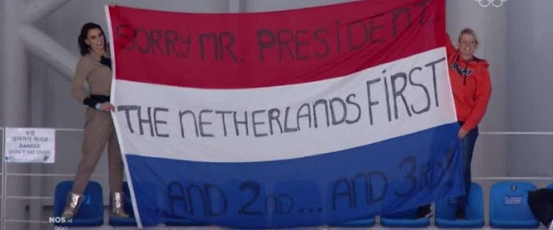 Publiek Winterspelen en NOS trollen Trump met 'Netherlands first'