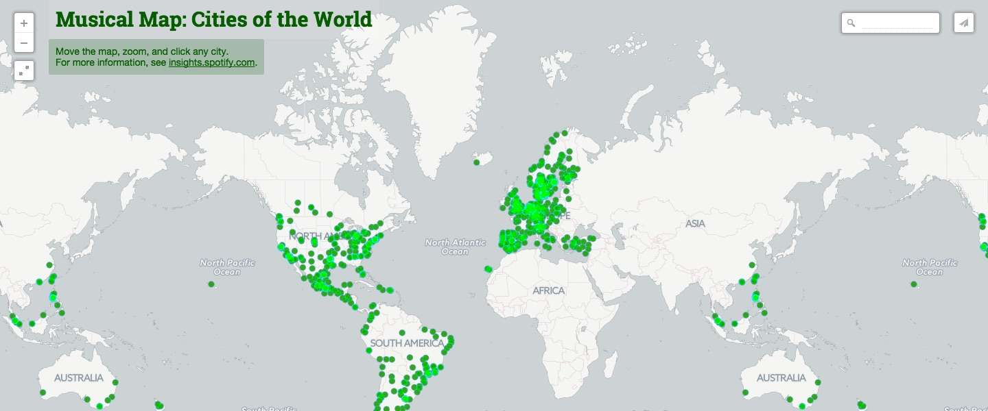 Spotify lanceert 'Musical Map of the World'