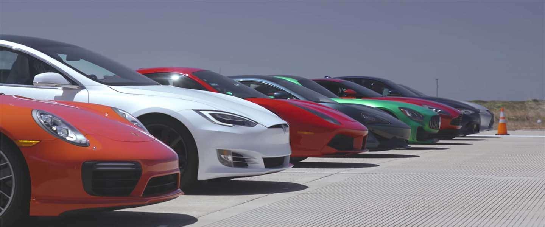 Drag Race: Tesla Model S P100D vs Porsche 911 Turbo S & Ferrari 488 GTB