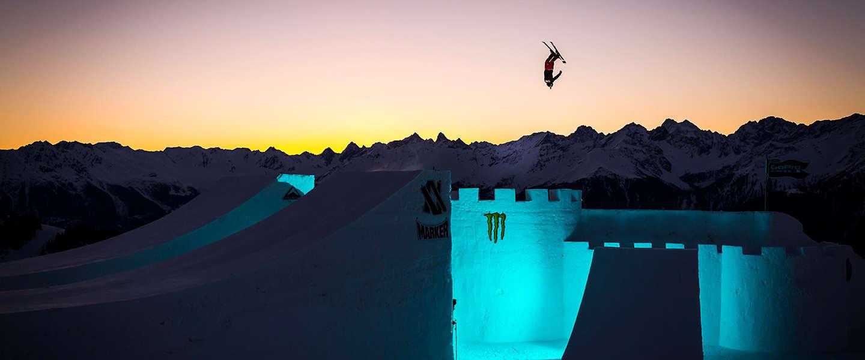 's Werelds beste skiërs en snowboarders in actie tijdens the Audi Nines