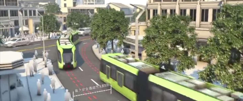 China heeft de eerste trein die rijdt over een virtueel spoor