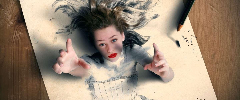 Vreselijk mooie Photoshop-kunst mengt foto's en tekeningen