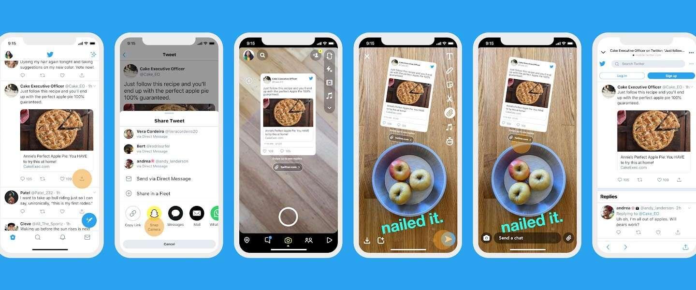 Snapchatters kunnen nu Tweets direct delen