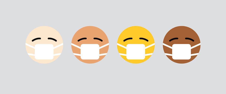 Emoji met mondkapje kijkt nu vrolijker