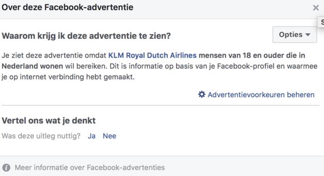 Advertentie uitleg KLM