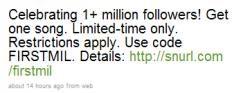 Amazon MP3 bereikt de 1 miljoen followers