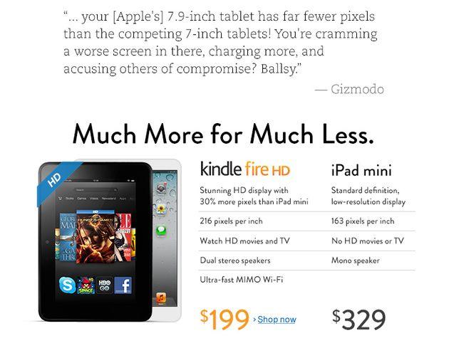 Amazon vergelijkt Kindle Fire HD met iPad Mini op eigen homepage