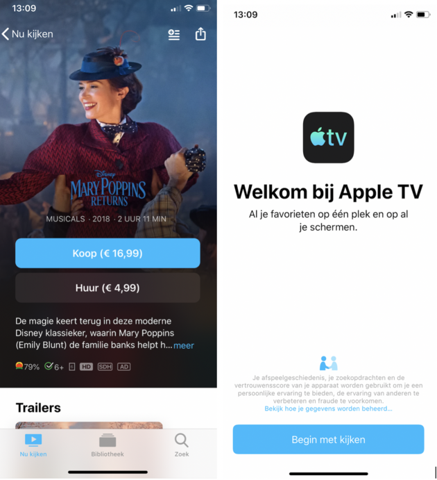 Apple TV voorbeeld films