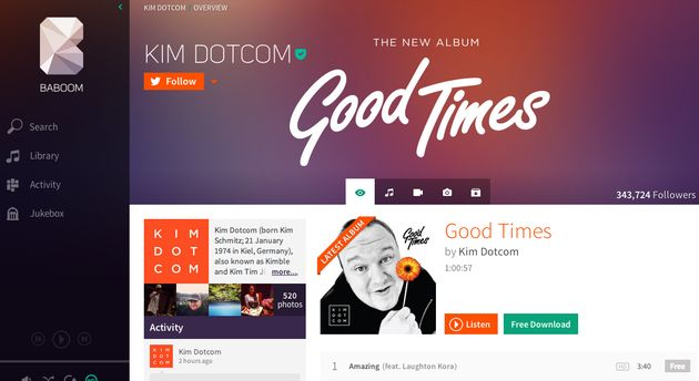 Baboom, een muziek streaming dienst van Kim Dotcom