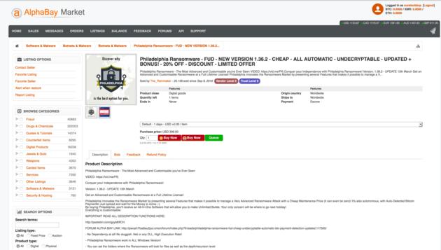 Bijlage 1 - AlphaBay Screenshot