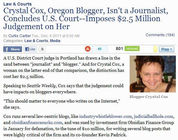 Blogger heeft niet dezelfde rechten als een journalist