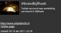 Brand in Zwijdrecht: Gemeente heeft het begrepen, uur later Twitteraccount: @brandkijfhoek