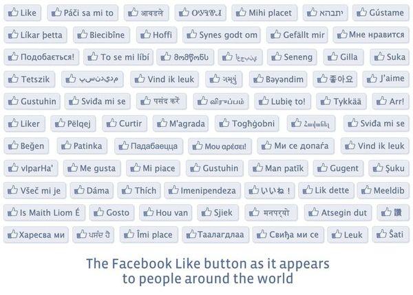 De Facebook like button in alle talen