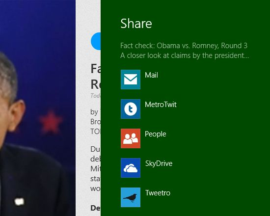 De Windows 8 Share functie
