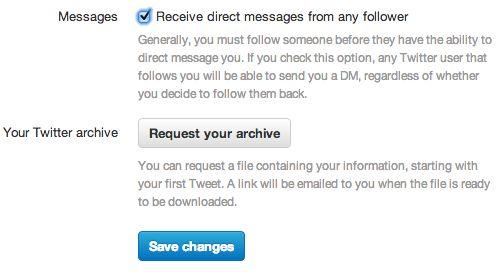 Direct Messages via Twitter ontvangen van iedere volger
