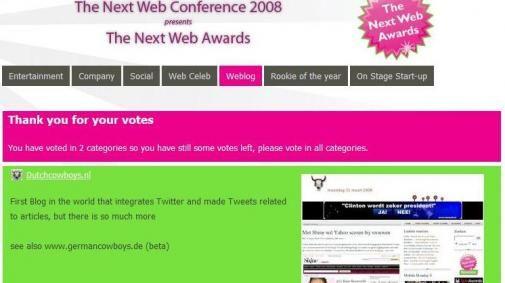 DutchCowboys.nl genomineerd voor Next Web Award 2008