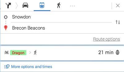 Easter Egg: Draak als vervoersmiddel in Google Maps