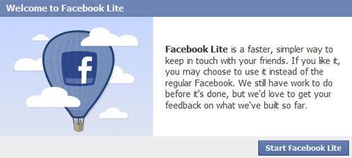 Facebook Lite staat live