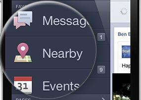 """Facebook: nieuwe plaatsen ontdekken met """"in de buurt / nearby"""""""