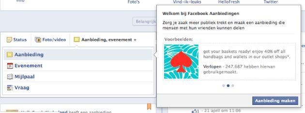 Facebook Offers beta nu ook beschikbaar in Nederland