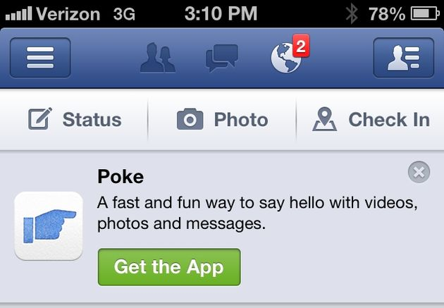 Facebook promoot Poke via bericht in iPhone-app