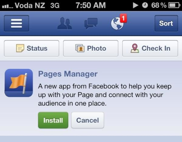 Facebook rolt iPhone applicatie uit voor paginabeheerders: Pages Manager