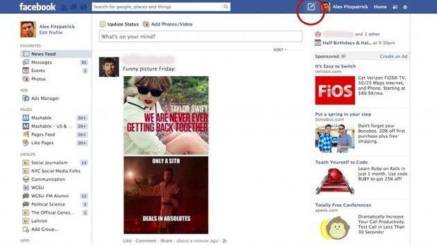 Facebook test nieuwe knop uit voor status updates