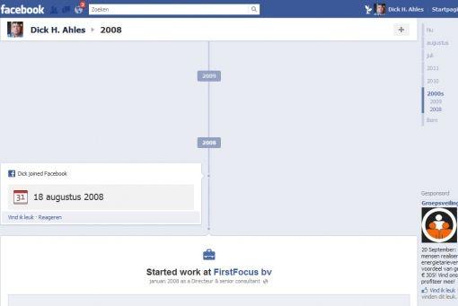 Facebook timeline 2008