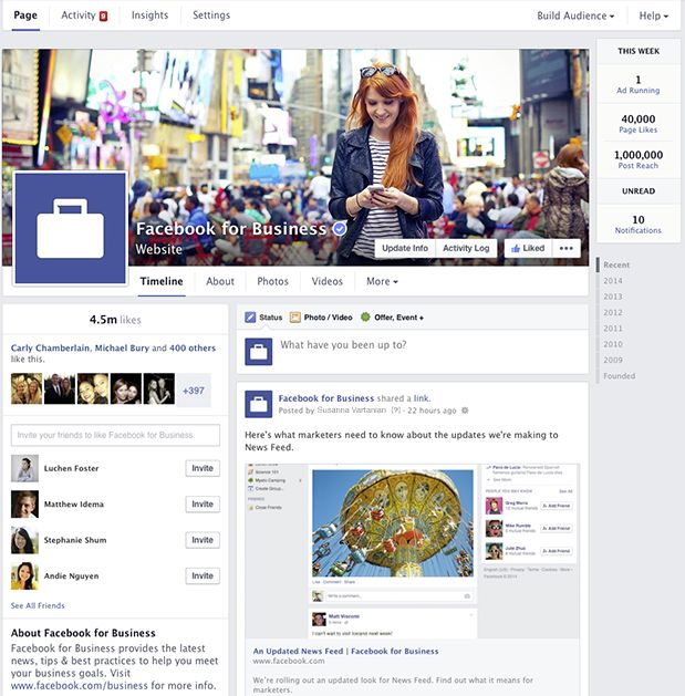 Facebook update layout van Pagina's op desktop
