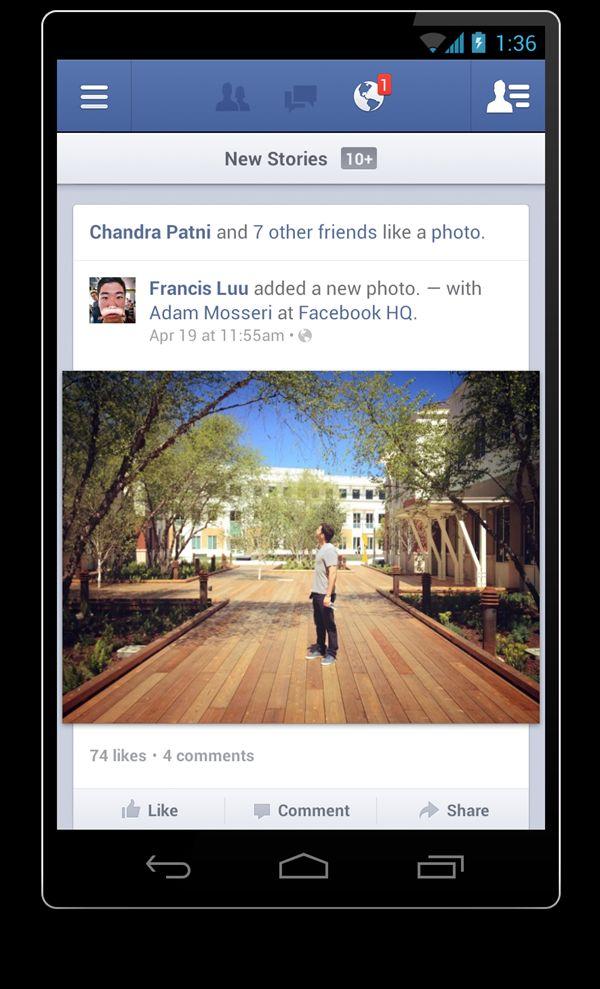 Facebook voor Android volledig vernieuwd