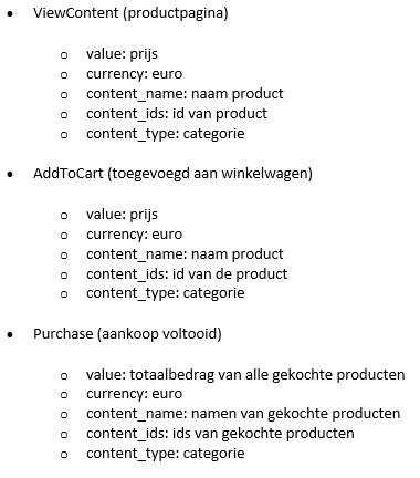 Figuur 2 - Standaard Pixel events